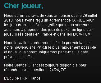 Annonce sur la page d'accueil du site pkr.fr