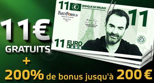 PartyPoker.fr et son billet de 11€ de bonus gratuit
