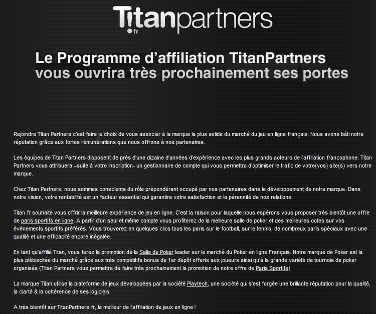 Programme affiliations Titan Partners