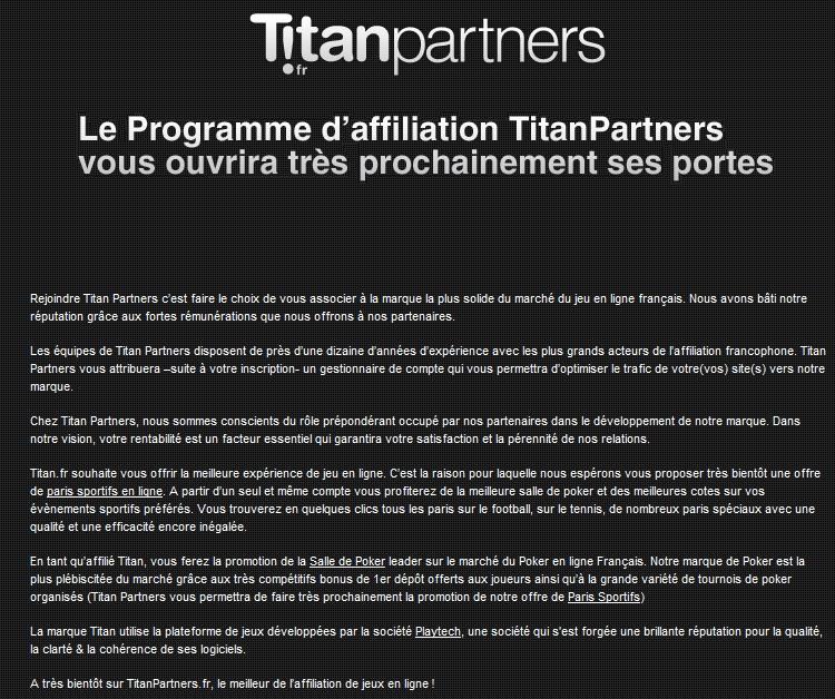 Programme affiliations Titan Partners