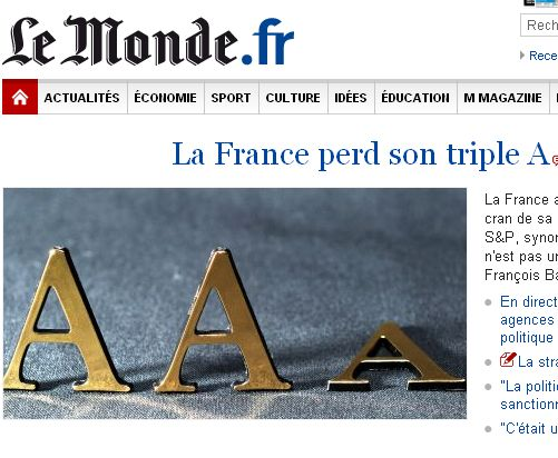 La France perd son triple A