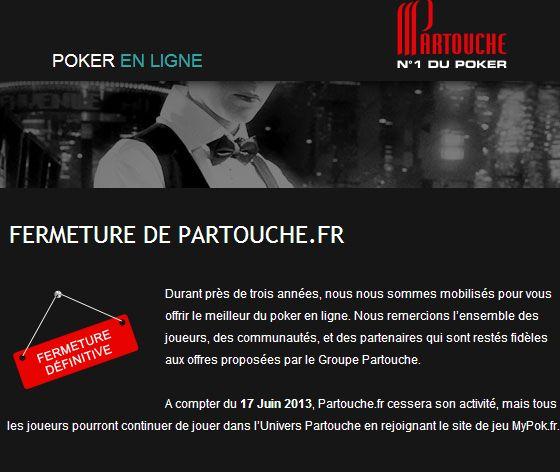 Partouche Poker France fereme ses portes