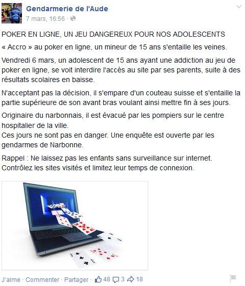 Message de prévention sur le poker en ligne